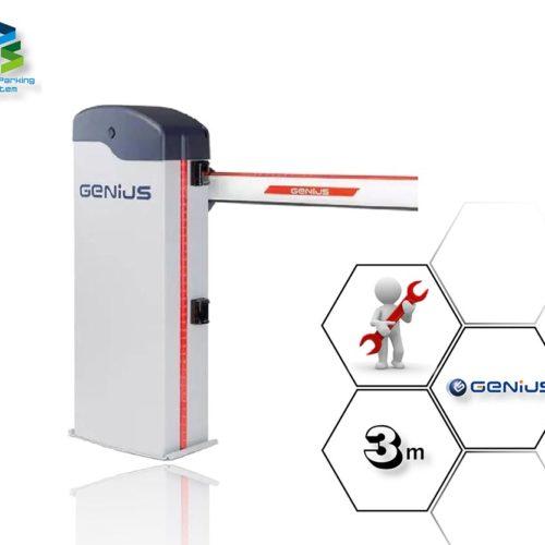 Szlaban automatyczny Genius Rainbow Fast 324C z ramieniem o długości 3 m.