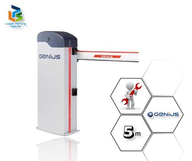 Szlaban automatyczny Genius Rainbow Fast 524 C z ramieniem o długości 5 m.